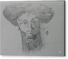 Acrylic Print featuring the drawing Man With An Afro by AJ Brown