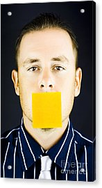 Man With Blank Paper Note Over His Mouth Acrylic Print