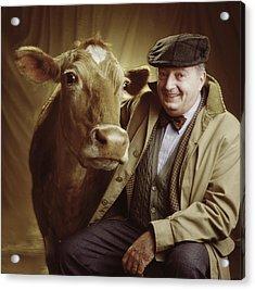 Man With Cow Acrylic Print by Ken Tannenbaum