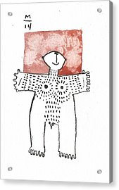 Man With Markings Red  Acrylic Print