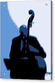 Man With Upright Bass In Blue Acrylic Print by Mike McCool