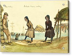 Man Working And Icelandic Women Working Circa 1862 Acrylic Print by Aged Pixel