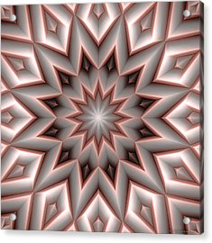 Mandala 107 Red Acrylic Print by Terry Reynoldson