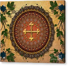 Mandala Armenian Cross Sp Acrylic Print by Bedros Awak