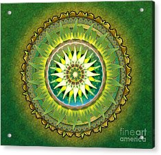 Mandala Green Sp Acrylic Print by Bedros Awak