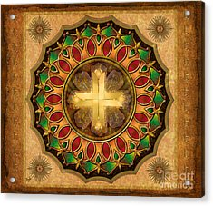Mandala Illuminated Cross Sp Acrylic Print by Bedros Awak