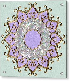 Mandala In Gold And Orchid Acrylic Print by Pat Follett