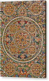 Mandala Of Heruka In Yab Yum And Buddhas Acrylic Print by Lanjee Chee