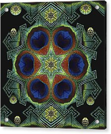 Acrylic Print featuring the digital art Mandala Peacock  by Nancy Griswold