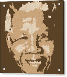 Mandela South African Icon  Brown Symbolizes High Ethical Standards And He Is Rewarded Le Prix De Le Acrylic Print by Asbjorn Lonvig