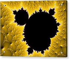 Mandelbrot Set Black And Yellow Fractal Art Acrylic Print