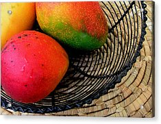 Mango In A Black Wire Basket Acrylic Print by James Temple