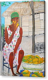 Acrylic Print featuring the painting Mango Merchant Woman by Nicole Jean-Louis