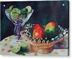 Mango With A Twist Of Lime Acrylic Print by Leslie Berman