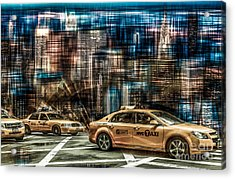 Manhattan - Yellow Cabs - Future Acrylic Print by Hannes Cmarits