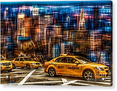Manhattan - Yellow Cabs I Acrylic Print by Hannes Cmarits
