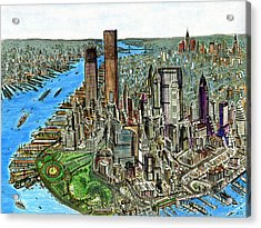 New York Downtown Manhattan 1972 Acrylic Print