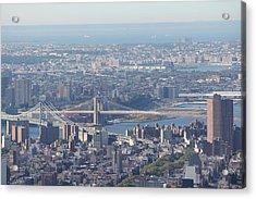 Acrylic Print featuring the photograph Manhattan And Brooklyn Bridge by David Grant