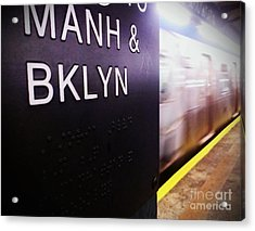Manhattan And Brooklyn Acrylic Print by James Aiken