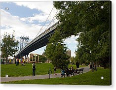 Acrylic Print featuring the photograph Manhattan Bridge And Park by Jose Oquendo