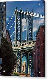 Manhattan Bridge Frames Empire State Acrylic Print