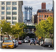 Acrylic Print featuring the photograph Manhattan Bridge From Dumbo by Jose Oquendo