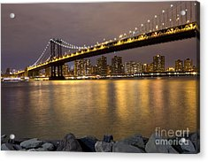 Manhattan Bridge Lights  Acrylic Print