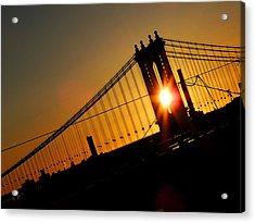 Manhattan Bridge Sunrise Acrylic Print by Jessica Stiles