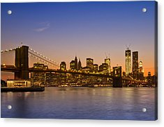 Manhattan Brooklyn Bridge Acrylic Print by Melanie Viola