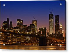 Manhattan By Night Acrylic Print by Melanie Viola