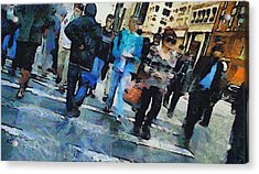 Manhattan Crosswalk Acrylic Print by Dan Sproul