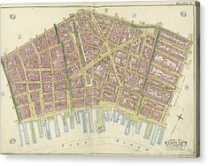 Manhattan, Double Page Plate No. 3 Map Bounded By William St Acrylic Print
