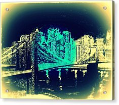 Manhattan In Blue Acrylic Print by Irving Starr