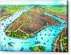 Manhattan Island 1879 Acrylic Print by Padre Art
