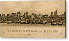 Manhattan Island New York City Usa Postcard 1908 Waterfront And Skyscrapers Acrylic Print
