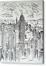 Acrylic Print featuring the drawing Manhattan by Janice Rae Pariza