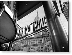 Acrylic Print featuring the photograph Manhattan Mall Sign by Dave Beckerman
