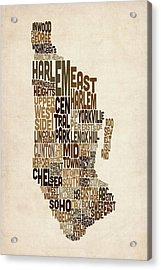 Manhattan New York Typography Text Map Acrylic Print by Michael Tompsett