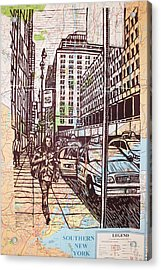 Manhattan On Map Acrylic Print by William Cauthern