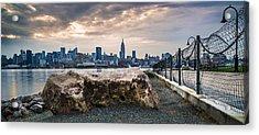 Manhattan Over The Hudson Acrylic Print by Chris Halford