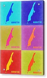 Manhattan Pop Art Map 3 Acrylic Print by Naxart Studio