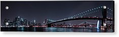 Manhattan Skyline And Brooklyn Bridge Acrylic Print by Fabien Bravin