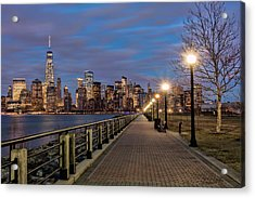 Manhattan Skyline At Twilight, Liberty Acrylic Print by F. M. Kearney