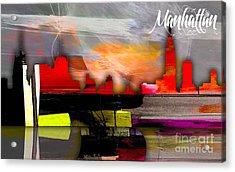 Manhattan Skyline Watercolor Acrylic Print