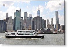 Manhattan Skyline With Boat Acrylic Print by Diane Lent