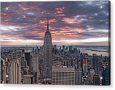 Manhattan Under A Red Sky Acrylic Print by Joachim G Pinkawa