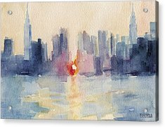 Manhattanhenge New York Skyline Painting Acrylic Print by Beverly Brown