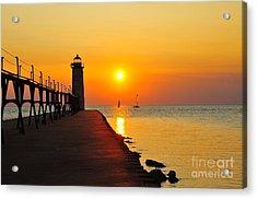 Manistee Lighthouse Sunset Acrylic Print