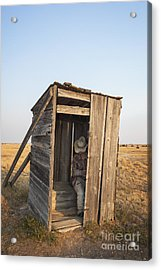 Mannequin Sitting In Old Wooden Outhouse Acrylic Print