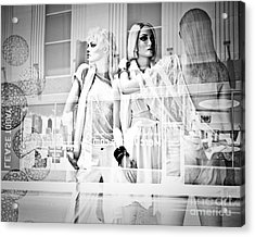 Mannequins In White Acrylic Print by Sonja Quintero